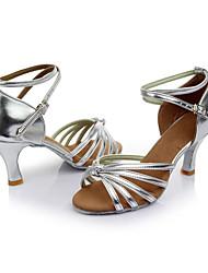 Women's Latin Silk Sandals Indoor Customized Heel Silver Customizable