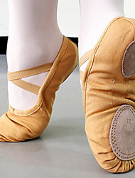 Women's Ballet Canvas Fabric Flats Practice Nude Camel Ruby