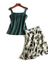 Для женщин На выход На каждый день Лето Блузка Юбки Костюмы На бретелях,Активный Однотонный С принтом Без рукавов