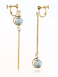 Women's Drop Earrings Crystal Unique Design Dangling Style Ferroalloy Round Jewelry For Dailywear Casual Stage