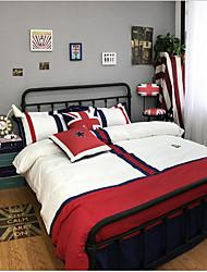 Duvet Cover Sets Painting 4 Piece Cotton Cloth Machine Made Cotton Cloth 1pc Duvet Cover 2pcs Shams 1pc Flat Sheet