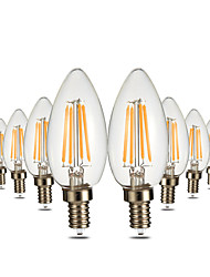 4W Luzes de LED em Vela C35 4 COB 300-400 lm Branco Quente Regulável Decorativa AC 110-130 V 10 pçs