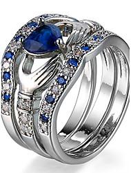Ring Settings Ring  Luxury Elegant Noble Zircon Heart Women's  Rhinestone Euramerican Fashion Birthday Wedding Movie Gift Jewelry