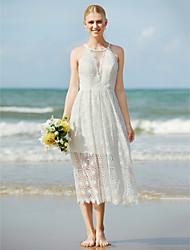 LAN TING BRIDE Sheath / Column Wedding Dress - Chic & Modern See-Through Tea-length Jewel Lace with Lace