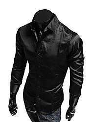 Для мужчин На каждый день Весна Осень Рубашка V-образный вырез,Активный Однотонный Длинный рукав,Органическийхлопок,Средняя