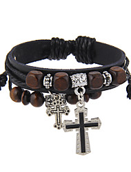 Women's Men's Leather Bracelet Jewelry Natural Friendship Gothic Movie Jewelry Vintage Hip-Hop Stretch Basketwork Aluminium leatherCircle