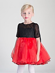 Ball Gown Short / Mini Flower Girl Dress - Lace Organza Satin Chiffon Jewel with Lace