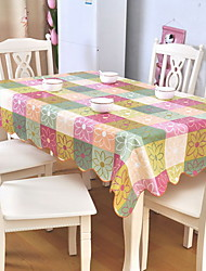 Pastoral Wind Green Leaf Dusty Rectangle Cotton And Linen Table Cloth 85*85cm Color Random