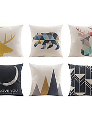 6 pcs Linen Pillow case Bed Pillow Body Pillow Travel Pillow Sofa Cushion Pillow Cover,Geometric Animal PlainCasual/Daily