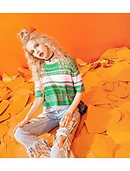 Damen Gestreift Einfach Alltag Normal T-shirt,Rundhalsausschnitt Kurzarm Polyester Viskose