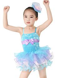 Tenues de Danse pour Enfants Robes Enfant Spectacle Elasthanne Polyester Paillété Tulle Volants Nœud papillon Robe pan volant 2 Pièces