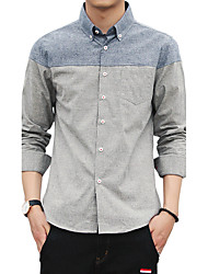 Men's Wedding Sports Plus Size Beach Holiday Going out Casual/Daily Work Club Vintage Simple Street chic All Seasons Fall Shirt,Solid