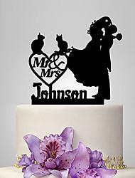 Decoración de Pasteles Pareja Clásica Boda Tema Clásico Romance Boda Bolsa de Poliéster