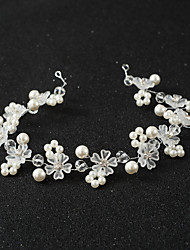 Handmade Flower Pearl Crystal Alloy Headpiece-Wedding Special Occasion Headbands Hair Combs Head Chain 1 Piece Length 35cm