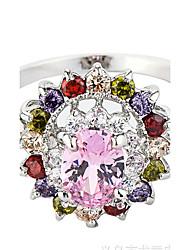 Ring Settings Ring  Luxury Elegant Noble Zircon Women's Oval Flower Multicolor  Euramerican Fashion Birthday Wedding Movie Gift Jewelry