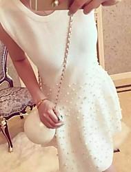 Linea A Fodero Lavorato a mano Vestito Da donna-Feste Per uscire Casual Romantico Moda città Tinta unita Mosaico RotondaSopra il