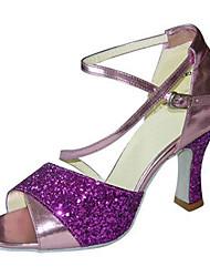 Для женщин Латина Дерматин Сандалии Кроссовки Профессиональный стиль С пряжкой На низком каблуке Лиловый Зеленый 5 - 6,8 см