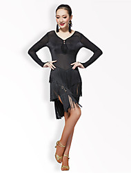 Devrions-nous des robes de danse latine Performance féminine Tulle / fibre de lait Tassel / solid / black