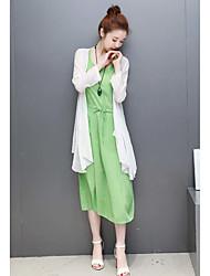 Chemisier Robes Costumes Femme,Couleur Pleine Décontracté / Quotidien Robes Eté Manches longues Col Arrondi