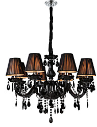 Chandelier Luxury Modern Black Crystal Living 8 Lights