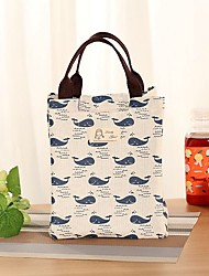 Lovely Lunch Bag Canvas All Seasons Casual Square Printing Magic Tape Beige/Pink/Green/Blue