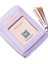 Women Card & ID Holder PU All Seasons Casual Outdoor Square Zipper Purple Black Blue