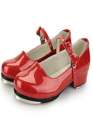 Для женщин Степ Лакированная кожа Дерматин На каблуках Тренировочные Цветы из сатина На низком каблуке Белый Черный Светло-красный2,5 -