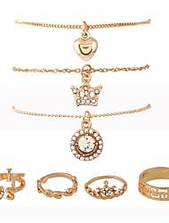 1Set Women's Necklace/Ring Pendants Midi Rings Euramerican Punk Hip-Hop Rhinestone Metallic Alloy Crown Irregular ForCongratulations Date