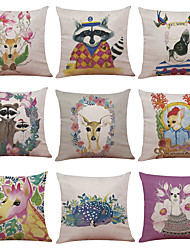 Set of 9 Cartoon Animal  Pattern Linen Cushion Cover Home Office Sofa Square Pillow Case Decorative Cushion Covers Pillowcases(18*18inch)
