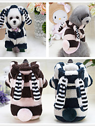 Dog Hoodie Clothes/Jumpsuit Pajamas Dog Clothes Party Casual/Daily Birthday Holiday Fashion Cartoon Blushing Pink Blue Green
