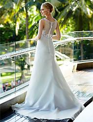 Trapèze Décolleté Traîne Tribunal Organza Robe de mariée avec Billes Appliques Bouton par LAN TING BRIDE®