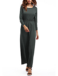 Women's Casual/Daily Vintage Street chic Swing Dress,Solid Round Neck Maxi Long Sleeve Milk Fiber Spring Fall Mid Rise Micro-elastic