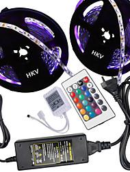 Hkv® 10m (2 * 5m) 5050 lampe à bande 300g rgb contrôleur à distance 24 touches 5a alimentation 100-240v