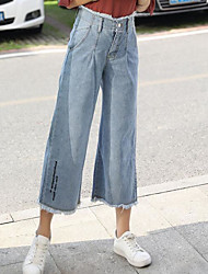 Women's Mid Rise Micro-elastic Wide Leg Jeans Pants,Street chic Relaxed Solid