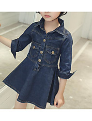 Girl's Solid Dress Short Sleeve