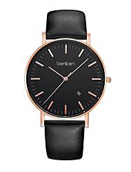 Men's Fashion Watch Quartz Genuine Leather Band Black