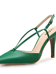 Women's Sandals Novelty Leather Spring Summer Office & Career Party & Evening Dress Novelty Almond Green Navy Blue Black 3in-3 3/4in