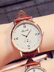 Men's Fashion Watch Wrist watch Quartz Leather Band Black Brown