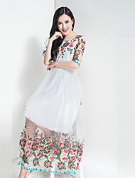 BORME Women's Party Going out Casual/Daily Vintage Boho Chiffon Swing DressFloral Round Neck Maxi Short Sleeve Polyester Chiffon Spring Summer