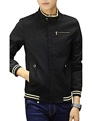 Men's Casual Casual Spring/Fall Winter Jacket,Solid Hooded Long Sleeve Regular Polyester