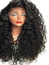 Mujer Pelucas de Cabello Natural Cabello humano Encaje Completo Integral sin Pegamento 130% Densidad Rizado Peluca Negro Corto Medio Largo