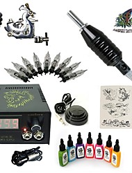 1 Set High Born Tattoo Kit HA6 With 7x15ML Inks 5 Needles Power Supply Switch