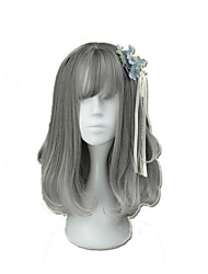 Wavy High Temperature Fibe Gray14 Cosplay Wig with Bang New Young Girl Heat Resistance Synthetic
