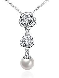 Women's Pendant Necklaces Crystal Cubic Zirconia Imitation Pearl AAA Cubic Zirconia FlowerImitation Pearl Zircon Cubic Zirconia Silver