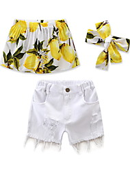 Girls' Print Fashion SetsCotton Polyester Summer Short Pant Baby Headband shorts Clothing 3pcs Set