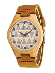 REDEAR®Women's Men's Fashion Watch Wood Watch Japanese Miyota Quartz Wooden PU Genuine Leather Band Charm Elegant  Khaki
