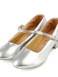 Women's Latin PU Flats Heels Practice Silver