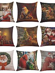 Set of 9 Santa Claus Pattern Linen Pillowcase Sofa Home Decor Cushion Cover