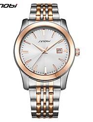 SINOBI Men's Fashion Watch Japanese Quartz Shock Resistant Stainless Steel Band Luxury Casual Silver Men Sports Watches Date Business Wristwatch