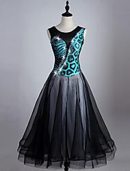 Dovremo ballo da ballo veste i cristalli / rhinestones del organza dello spandex di prestazione delle donne